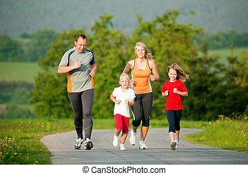 jogging, famille