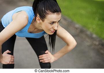 jogging, femme, après, fatigué