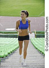jogging, femme, athlétisme, stade