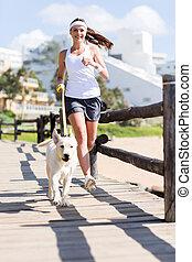 jogging, femme, chien, elle