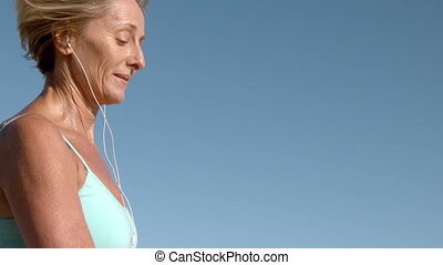 jogging, femme, ensoleillé, personne agee, jour