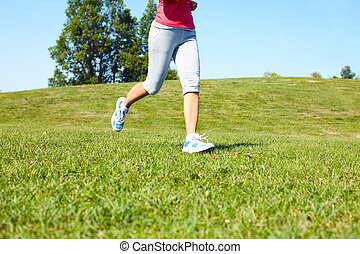 jogging, femme, feet.
