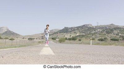 jogging, femme, jeune