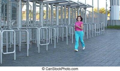 jogging, femme, personnes agées
