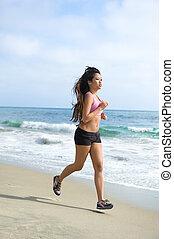 jogging, femme, plage, asiatique