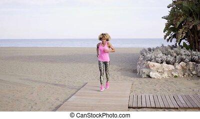 jogging, femme, plage, jeune, crise