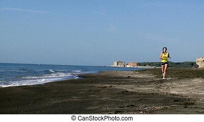 jogging, femme, plage