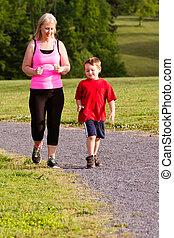 jogging, fils, mère, exercice, dehors
