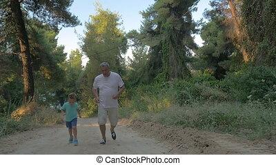 jogging, forêt, petit-fils, grand-père