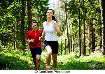 jogging, forêt