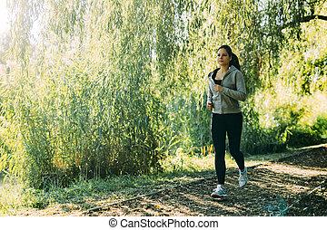 jogging, frau, anfall, draußen