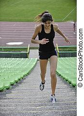jogging, frau, athletik, stadion