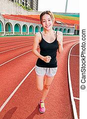 jogging, frau, chinesisches , stadion