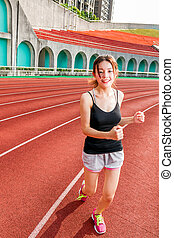 jogging, frau, chinesisches
