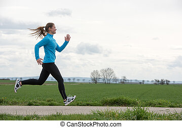 jogging, frau, draußen