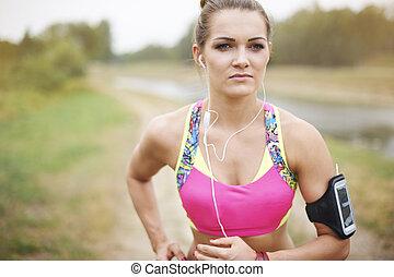 jogging, frau, park, attraktive