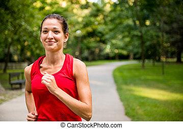 jogging, frau, park, junger
