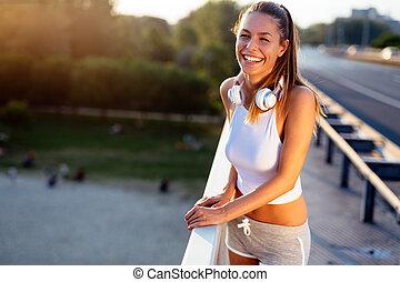 jogging, frau, sportliche , draußen