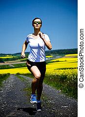 jogging, frau