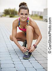 jogging, frau, vorbereiten, morgen