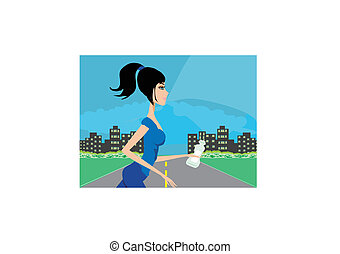 Jogging girl in city