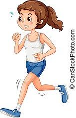 Jogging - Girl in sportswear jogging alone