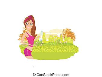 Jogging girl in summer