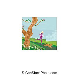 Jogging girl in the park