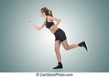 Jogging girl of Asian
