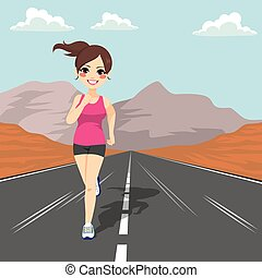 Jogging Girl Road - Young jogging girl running on road...