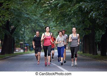 jogging, grupa, ludzie