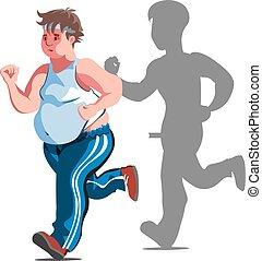 jogging, illustrazione uomo, grasso, cartone animato