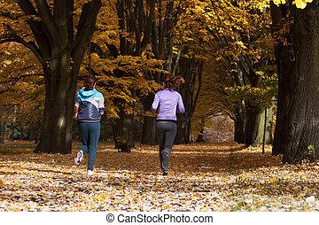 Jogging in park