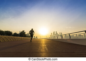 jogging in the morning