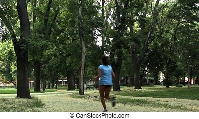 jogging in the park