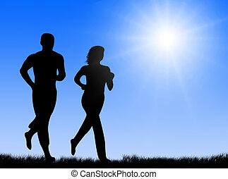 Jogging in the sun - Couple jogging together in the bright ...