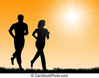 Couple jogging together in the bright sun