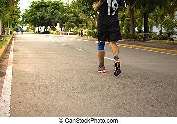 jogging., joven