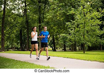 jogging, juntos, -, pareja joven, corriente