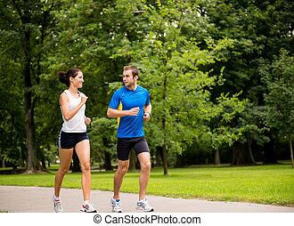 jogging, juntos, -, pareja joven, entrenamiento