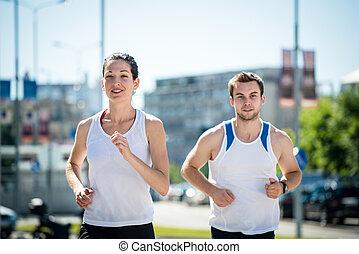 jogging, juntos