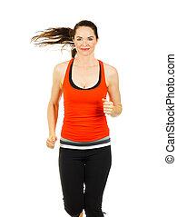 jogging, kobieta, atak