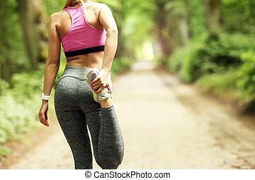 jogging, kobieta, las