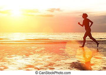 jogging, kobieta, plaża, młody, sunset.
