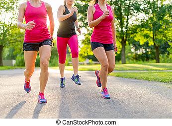 jogging, kobiety, grupa, natura