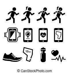 jogging, komplet, ludzie, ikony, apps, jogging, wyścigi