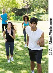 jogging, land, athleten, grasbedeckt