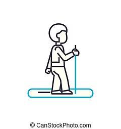 Jogging linear icon concept. Jogging line vector sign, symbol, illustration.