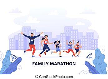 jogging, mère, heureux, gens, style de vie, famille, vecteur, father., liaison, folâtre, peu, illustration., activité, participer, sain, enfants, ensemble, kids., course, marathon., parents