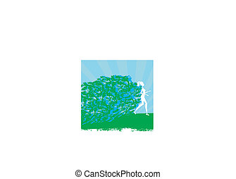 jogging, m�dchen, -, abstrakt, silhouetten, karte